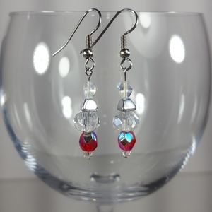 E188  Czech Sparkling Clear/Red Beaded Earrings